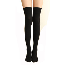 Black Grey Solid Color Women Thigh High Socks Best Quality Cotton Long Socks Sexy Ladies Autumn Winter Knee Socks 1Pair medias(China)