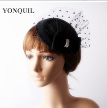 2017 Ladies black fascinators top hats bow accessories vogue hair clips wedding hats with dot mesh decor for party cocktail(China)
