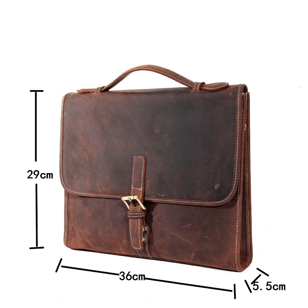 YISHEN Vintage Business Men Briefcase Handmade Crazy Horse Leather Crossbody Bags Top Handle Laptop Case Male Handbags MSXY8902
