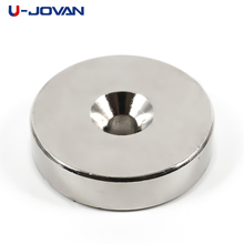 U-JOVAN 1pcs 40 x 10 mm Hole: 6mm Super Strong Round Powerful Neodymium Magnets Countersunk Rare Earth Magnet 40*10-6