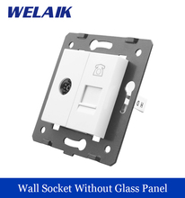 WELAIK EU Standard TV Telephone Socket DIY Parts White Wall TV Telephone Socket parts Without Glass Panel A8TVTP(China)