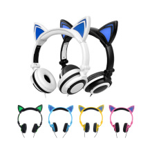 Factory wholesales Cat Ear Headphones for Computer Games Headset Earphone with LED light For PC Laptop Computer Mobile Phone