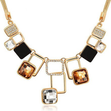New high end fashion crystal necklace jewelry Classic Vintage geometric Pendant Necklaces for woman(China)