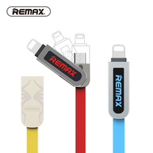 REMAX 2in1 USB Cable to Micro USB Cable Data Charger 2.1A 8pin Flat Data charging Cable USB for iphone5 6/7/samsung/ipad(China)