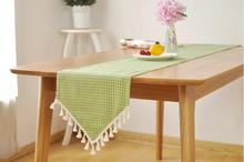 Fashion Green Plaid Cotton Linen Table Runner Table Flag with Tassels Table Bed Cover Towel Table Decoration Home Textile(China)