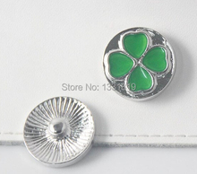 20pcs/lot hot sale four leaves clover enamel snap jewerly DIY Fit for leather bttoun bracelet with crystals for women and men(China)