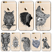 TPU Cover For Apple iPhone 4 4S 5 5S 5C SE 6 6S 6Plus 6SPlus Cases 2016 Newest Hot Sold Indian Styles Painting Mouser Owl