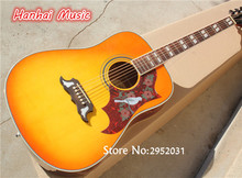 Hot Sale Custom Folk Acoustic Guitar,Yellow Color,Dove Pickguard,Rosewood Fretboard,White Binding,can be Customized