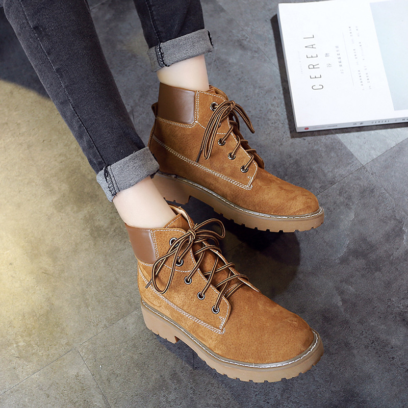 Jookrrix Autumn Fashion Women Boots Ankle Martin Boots Warm Genuine Leather Boots Cross-tied Lady Leisure Shoe Female Soft Black<br>