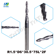2pcs/lot R1.5*D6*30.5*75L*2F tungsten carbide Ball Nose cone type Tapered End Mills cnc milling cutter tools(China)
