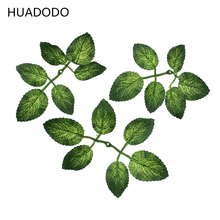HUADODO 20Pcs Artificial Leaf Green rose Leaves For Wedding flower bouquet Decoration DIY nylon stocking flowers