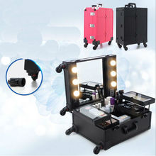 New Lighted Studio Makeup Case Cosmetic Case Portable Cosmetic Trolley Box 40x22x50cm