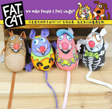 3078# Pet Product Fatcat Pet Toy Fat Cat Canvas Toy Colorful Mouse Fat Cat Toy With Catmint Catnip Funny 1PC