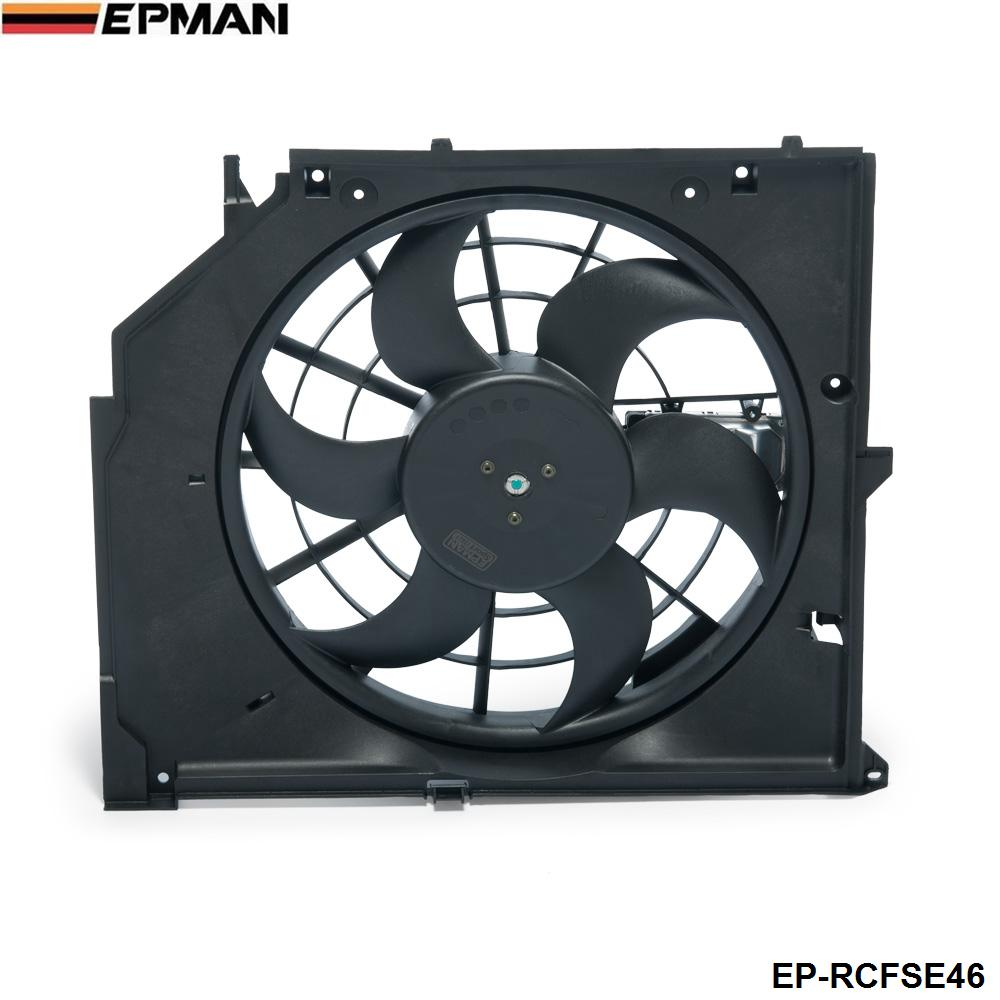 EPMAN -Car Replacement AC Condenser Cooling Fan Assembly (Brush Motor) For BMW 3 Series E46 99-06 17117510617 EP-RCFSE46