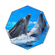Anime Kissing Dolphins Lovers Customized Portable Folding Travel Design Rain and Sun Beach Umbrellas Hat Unique Parasol Umbrella(China)