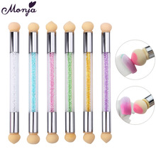 2 Heads Nail Art Sponge Gradient Brush Acrylic Gel Polish Gradual Color Transfer Rhinestone Sequins Pick Up Dot Paint Draw Pen(China)