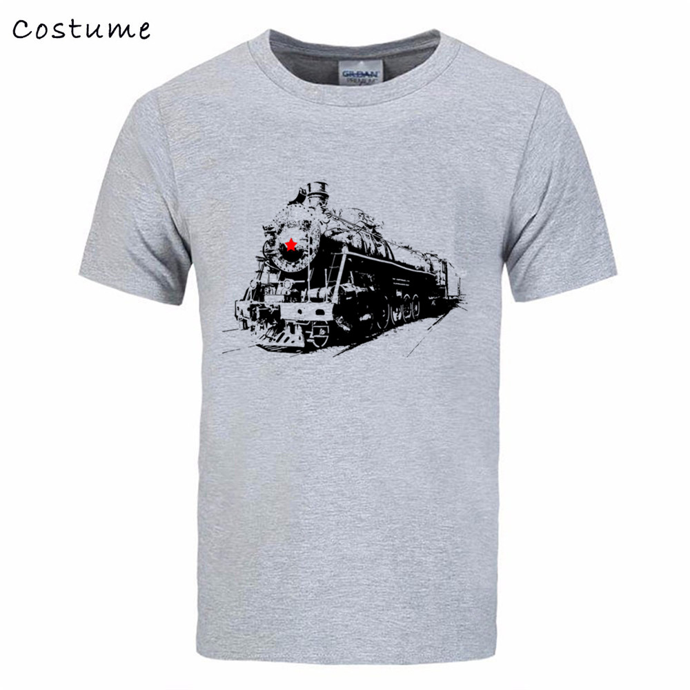 Soviet Steam Locomotive Train 3D print Tee Shirt Men's Short Sleeve Cotton Guardians Galaxy male T tshirt real madrIDS palace(China (Mainland))
