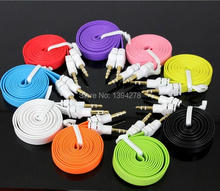 1M 3FT Flat Noodle 3.5mm Stereo Auxiliary Cable Male to Male Flat Audio Music Aux Cord MIni 7 Colors 50pcs/lot