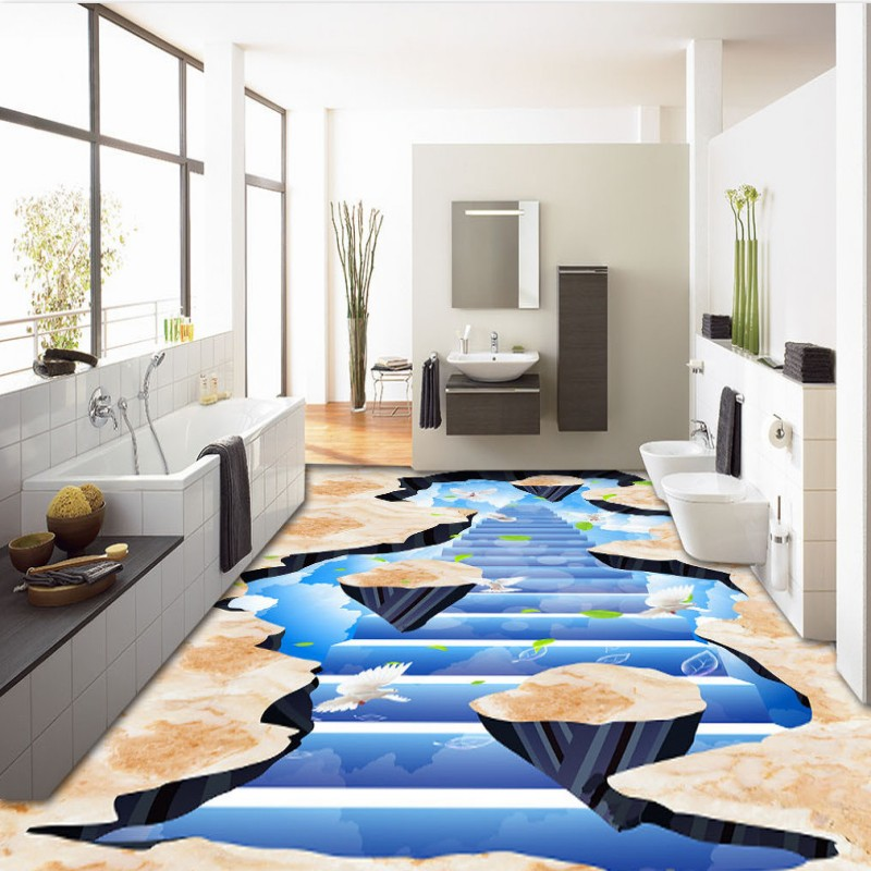 Free Shipping Peace Ladder Pigeon 3D painting living room flooring wallpaper mural self-adhesive flooring wallpaper mural<br><br>Aliexpress