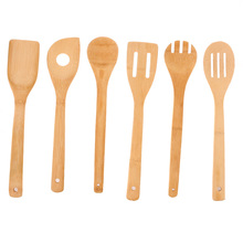 6Pcs/set Cooking Utensils Bamboo Wood Kitchen Slotted Spatula Spoon Mixing Holder Dinner Food Rice Wok Shovels Tool EJ875484