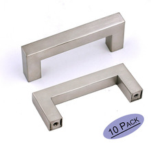 Brushed Nickel Hardware Drawer Pulls LSJ12BSS76 Hole Centers 3 Inch Square Bar kitchen Cabinet Door Handles Stainless 10Pack