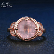 LAMOON Flower 9mm 100% Natural Round Pink Rose Quartz Ring 925 Sterling Silver Jewelry Rose Gold Romantic Wedding Band LMRI016(China)