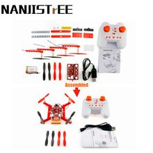 Nanjistree DIY Blcok Dron 4CH 24Ghz 6-Aix Quadcopter Assemble Mini Flying Education Toy For Kid Rc Helicopter Copter