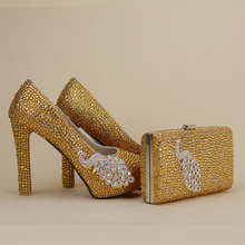2017 Newest Designer Unique Phenix Decoration Gold Rhinestine Shoes With Matching Bag Party Proms Bridal Wedding High Heels