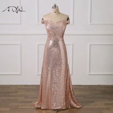 8dc50bedee26c ADLN Sexy Rosegold Sequin Evening Dresses Off-the-shoulder Plus Size Mermaid  Lace Prom Party Gown for Special Occasion 2019