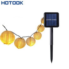 HOTOOK Led Solar Lamp Christmas Lights Outdoor 6m 4.8m Lantern Crystal Cotton Ball String luminarias for home Garden Garland(China)