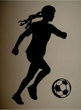 CaCar Sports Wall Decal Art Sticker Quote Vinyl Soccer Girl Silhouette Decor Wall Decal Art(China)