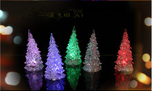 Pretty Decoration Christmas Tree Ice Crystal Color Changing LED Desk Decor/Table Lamp Light