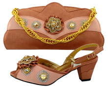 New Arrival Peach Color Shoes and Bag Set Decorated with Appliques African Women Matching Italian Shoe and Bag Set  MM1022