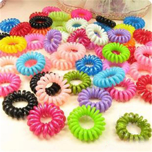 Wholesale 10pcs/lot Telephone Cord Elastic Ponytail Holders Hair Ring  For Girl Rubber Band Tie Candy Color Wholesale