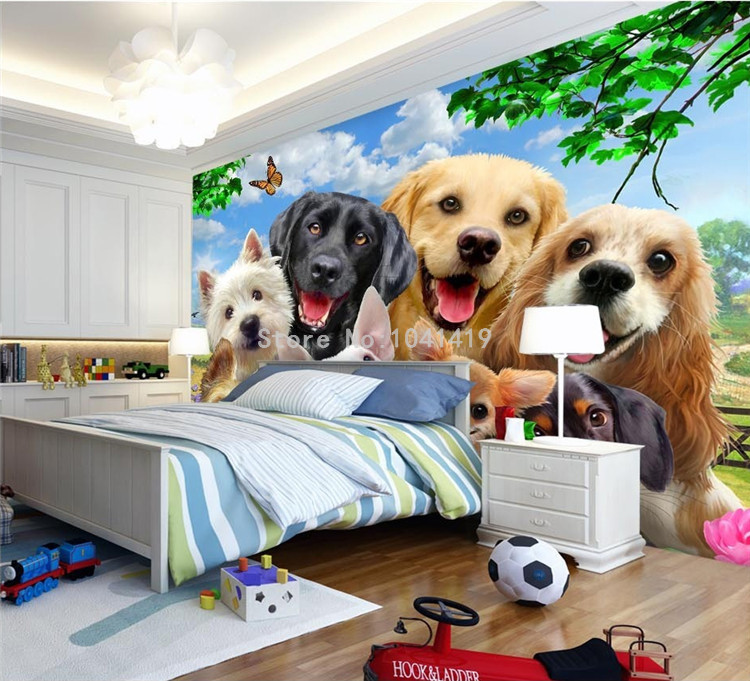 HTB1Uc.CSFXXXXa XpXXq6xXFXXXM - 3D Wallpaper Cute Cartoon Lawn Dog Animal Photo Wall Murals Children Kids Bedroom Backdrop Wall Home Decor Papier Peint Enfant