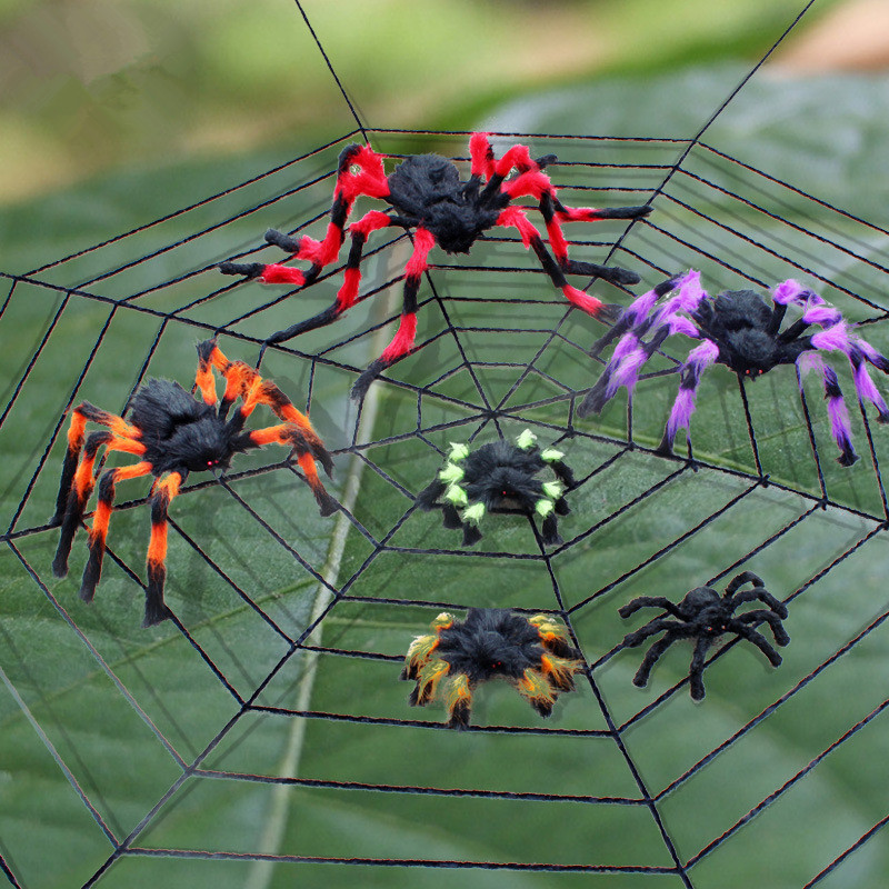 halloween decoration horror black spider haunted house spider web bar party decoration supplies simulation plush tricky toy  (1)