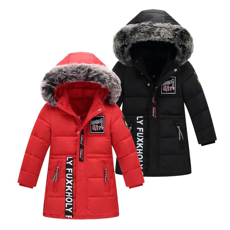 Boys Medium - length Down Jacket Kids Fur Hooded Warm Coat Winter Zipper Parka Down Children Clothes Teen Outerwear 8-14 Years<br>