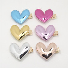 20pcs/lot Gloss PU Leather Heart Hair Clip Gold Silver Shinny Girls Hairpin Blue Glitter Pretty Kid Pink Birthday Party Barrette