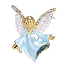 Figure small angel rhinestone Brooch pin crystal wings Brooches women party decoration jewelry(China)