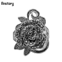 Vintage Crystal Rose Flower Rings Antique Silver Plating Fashion Jewelry For Women TR489