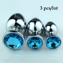 3 pcs/lot Stainless steel Diamond Crystal metal butt anal plug anal vibrator Adult Anal Sex Toys for Men&women Anal Sex Products