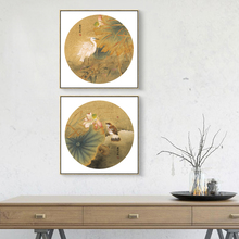 Traditional Mountain Water Painting Lotus Bird Canvas Picture House Decoration Prints Wall Art  Photo no Frame Present Prints