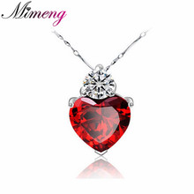 100% 925 Sterling Silver Fashion Red Heartl Pendant Necklace Fine Jewelry Top Quality Girl Friend Gift FREE SHIPPING