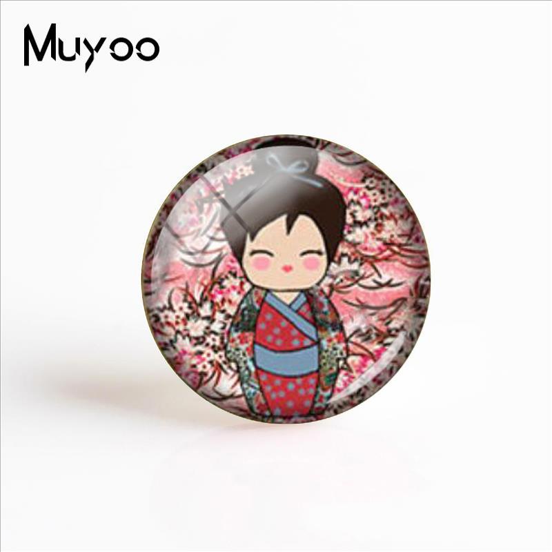 12mm Kokeshi Doll Japanese Kimono Round Glass Flatback Cabochon