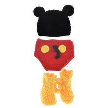 cartoon design Baby Crochet Photography Props Infant Crochet Mickey Hat Pants&Shoes Set Boy Handmade Costumes(China)