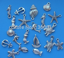 100Pcs Mixed Vintage Silver Ocean Animal Seahorse Shell Fish Mermaid Turtle Charms Pendant For Jewelry Making Bracelets Craft