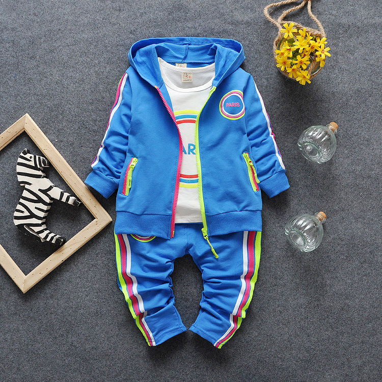 Childrens sports suits cotton sportswear three suit boy / girl clothes coat + T-shirt + long trousers 1-5 years<br><br>Aliexpress