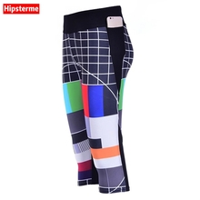 Hipsterme Wholesales Sexy women's 7 points Leggings TV network design digital print women high waist Side pocket phone pants(China)