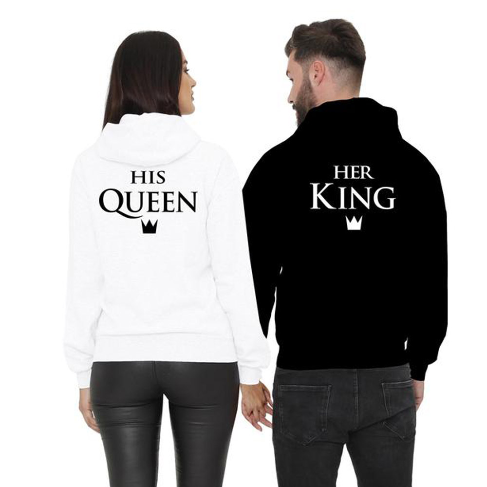 Matching Couple Hoodies Men Women King and Queen Lover Sweatshirt Hooded Coat