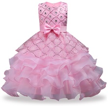 New Big bow tutu dress for Girls Rose Bow Flower Girls Princess dress Girls dresses for Summer Party dress Girls clothing